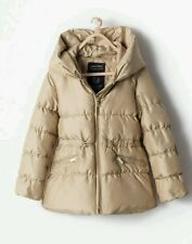 Zara Kids Girl Gold Beige Tan Zip Gathered Down Jacket 9-10 Years BNWT