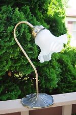 Vintage Brass Goose Neck Lamp With Tulip Shaped Frosted / Ruffled Glass Shade