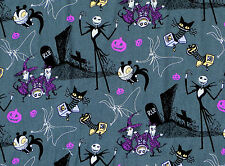 NIGHTMARE BEFORE CHRISTMAS JACK IN THE BOX TIM BURTON 100% COTTON FABRIC YARDAGE