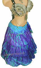 Aqua & Purple Tiger Stripe Wrap Skirt Gypsy Tribal Fusion Belly Dancel ATS