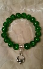 Claddagh charm green 10mm crackle glass beaded bracelet Irish gift bag