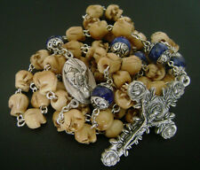 Bone Skull & Sterling Silver Flower Lapis lazuli Beads Rosary Cross Necklace