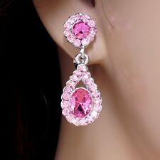 #E961 Wedding Bridal Comfy CLIP ON EARRINGS Teardrop Pink Crystal Deluxe New