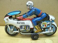 Vintage PD Police Patrol Friction Wind Up Motorcycle Tin Metal Toy