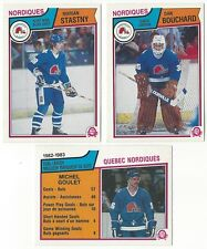9 1983-84 OPC HOCKEY QUEBEC NORDIQUES CARDS (GOULET/STASTNY+++)