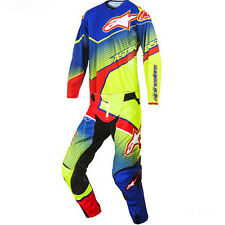 ALPINESTARS  TECHSTAR VENOM COMBO 2017 BLUE YELLOW FL RED PANT 34 JERSEY L
