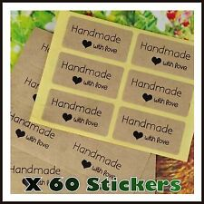 60 Rectangular Paper Labels 'Hand made with love' Gift Food Kraft Craft Stickers