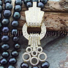 """H072410 19"""" 3 Strands Black Round PearlNecklace"""