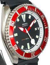 Vintage mens SEIKO diver 7002 mod WHITE Chapter Ring w/Red DAGGER hands & Bezel!