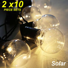 2 x 10 Piece LED Solar Clear Globe Festoon String Light Kit - Designer Lighting