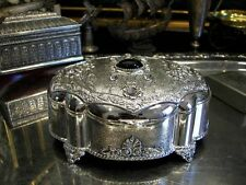 Silver Plated Jewellery Box Black & White Gems For Necklaces Flowers Vintage