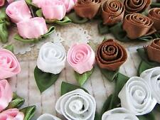 "60 Pink,Brown,White Satin Ribbon 1"" Swirl Rose Bud Flower/Craft/trim/Dress F99"