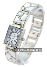 ladies mother of pearl silver tone designer-style fashion watch link bracelet