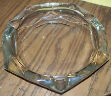 LARGE UNIQUE  VINTAGE CLEAR GLASS HEXAGON SHAPED ASHTRAY HEAVY DUTY