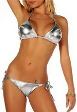 Hot Metallic Silver Strap Bikini Tie Side Swimwear Dance Wear Swimsuit UP*