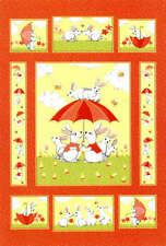 Susybee Coral Bunny & Friend Bert & Beatric DIY Quilt Panel Fabric