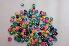 lot of 125 5mm painted wooden beads (5017)