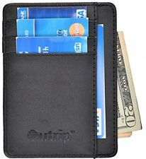 Mens Slim Leather RFID Blocking Front Pocket Wallet Credit Card Holder Black