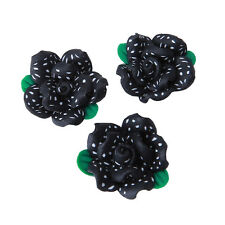100x Black FIMO Polymer Clay Green Leaves Flower White Dots Fit Jewelry Making L