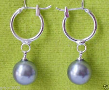 New Fashion Gray 10mm Round South Sea Shell Pearl Silver Hoop Dangle Earrings