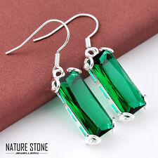 Rectangle Xmas Emerald Topaz Gemstone Silver Dangle Earrings