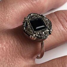 Bague Ancienne en Argent et Onyx Époque 1900 Antique Silver Ring T59