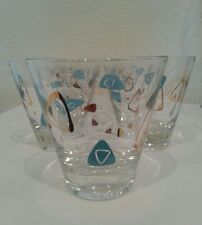 (7) Vintage Federal Boomerang Atomic Turquoise Gold Low Ball Cocktail Glasses
