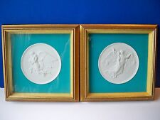 "Royal Copenhagen ""Day & Night"" Framed Angel Wall Plaques  by Bertel Thorvaldsen"