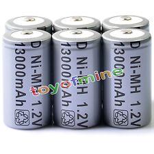 Celular 6x D Tamaño tipo D 13000mAh 1.2V Ni-MH batería recargable Gris
