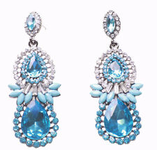 Luxurious & Sublime - Dual Aqua Blue Droplet Gem/diamanté Metal Earrings(Zx188)