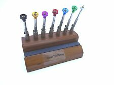 Watchmaker Screwdrivers Set Of 7 With Wooden Holder And Carborundum Stone For Sh