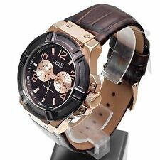 Guess Analog Brown Leather Strap Men's Watch - W0040G3