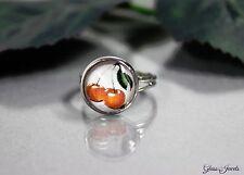 Glass Jewels Silber Ring Rockabilly Kirsche Retro Größenverstellbar 52-56  #R015