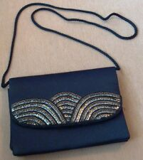 C & A ~ YESSICA ~ SMALL BLACK ART DECO STYLE VINTAGE SEQUINNED EVENING BAG