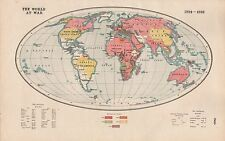 1920 MAP -WORLD WAR 1- THE WORLD AT WAR 1914-1918