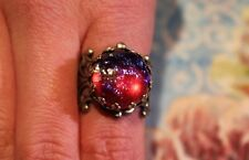 Dragons Breath Mexican Fire opal ring,round 15mm,silver antiqued filigree ring