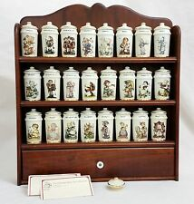 Vtg Goebel Hummel Wood Rack & Spice Jars Complete 24 Pc Set w/ Recipe Cards VGC