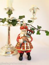 Scottish Santa with bagpipes glass bauble retro vintage style Scotland souvenir