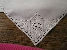 "Vintage Antique Lefkara Lace  Embroidered  Linen  Tablecloth  33""X35"" PERFECT!"