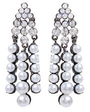 NWT Amrita Singh Faux Noble Pearl Gold Dangling Crystal Earrings ERC 9967