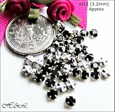 30 Swarovski ss12 Jet Black Vintage Rose Montees Sew On Crystals ss plate 12ss