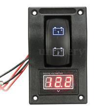 12/24V Marine Boat Dual LED Battery Test Panel Rocker Switch Voltage Voltmeter