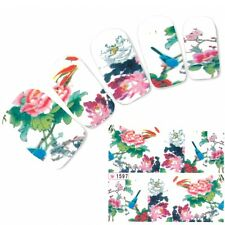 Nagel Sticker Nail Art Aufkleber Vogel Bird Blumen Nägel Flower Fuß Water Decal