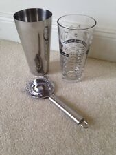 Retro Libbey Cocktail Shaker Set, Recipe Glass, Strainer, NWT