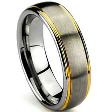 TITANIUM Satin Polished RING BAND with Gold Plated Grooves, sizes 8, 9, 10, 11