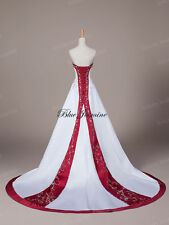Red And White Satin Embroidery Bead Wedding Dress Bridal Gown Custom Size 4-24++