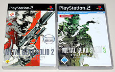 2 PLAYSTATION 2 giochi Set-METAL GEAR SOLID 2 Sons of Liberty & 3 Snake Eater