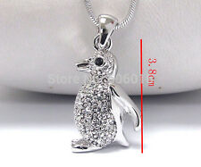 WHITE GOLD PLATED 3D PENGUIN PENDANT RHINESTONE NECKLACE GIFT BOXED.