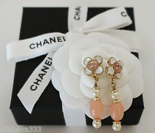 Chanel Pink & Pearl Long Drop Earrings in Gold-Tone with Pierced Posts Dangle