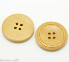 """30PCs Natural 4 Holes Round Wood Sewing Buttons 30mm(1 1/8"""")Dia."""